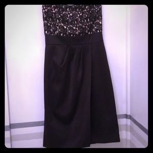 WHBM evening dress strapless empire black and lace